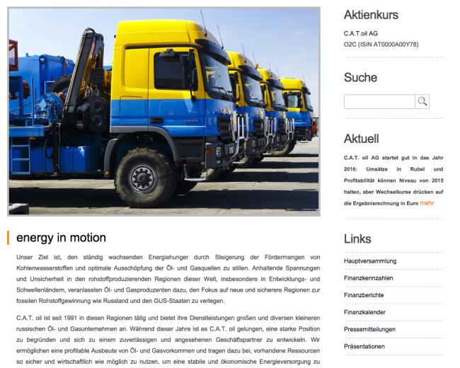 Die Startseite des Webauftritts von c.a.t.oil